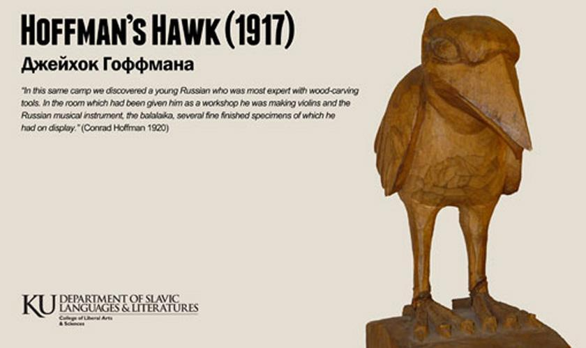 Former KU student Conrad Hoffman brought this carved Bolshevik Jayhawk back to KU in 1921